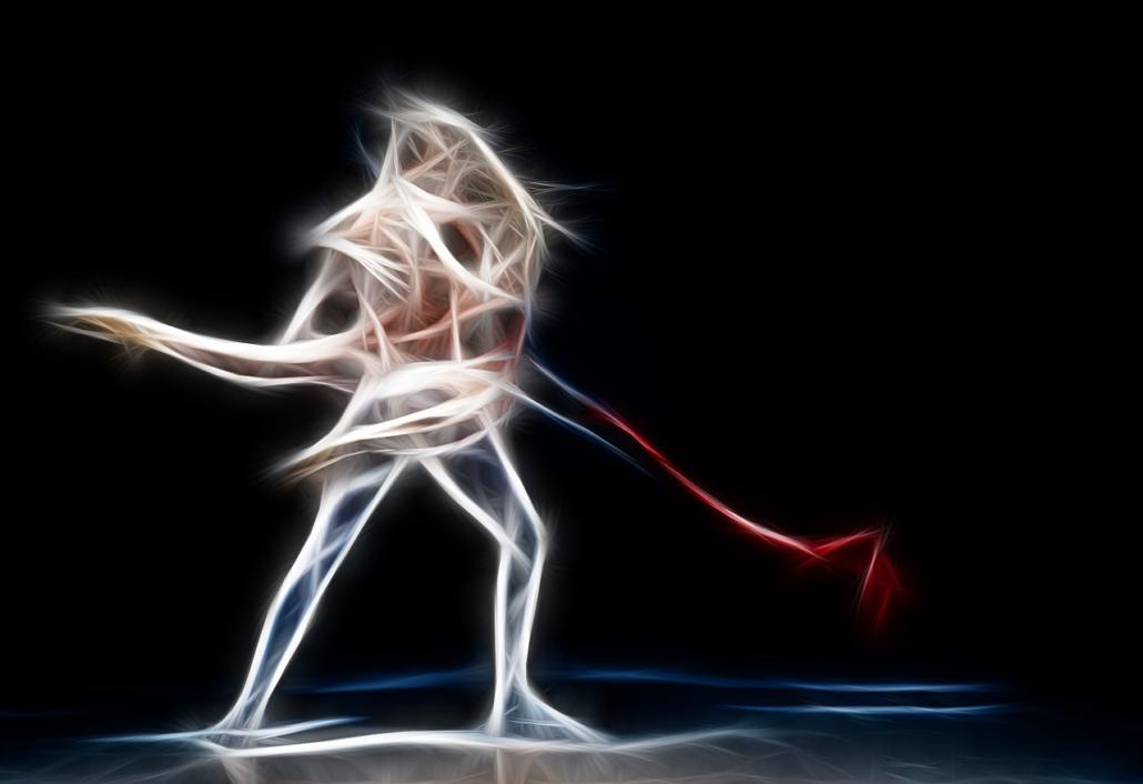 Tanzender Paar als Feuer, Maya Shakti Tanz