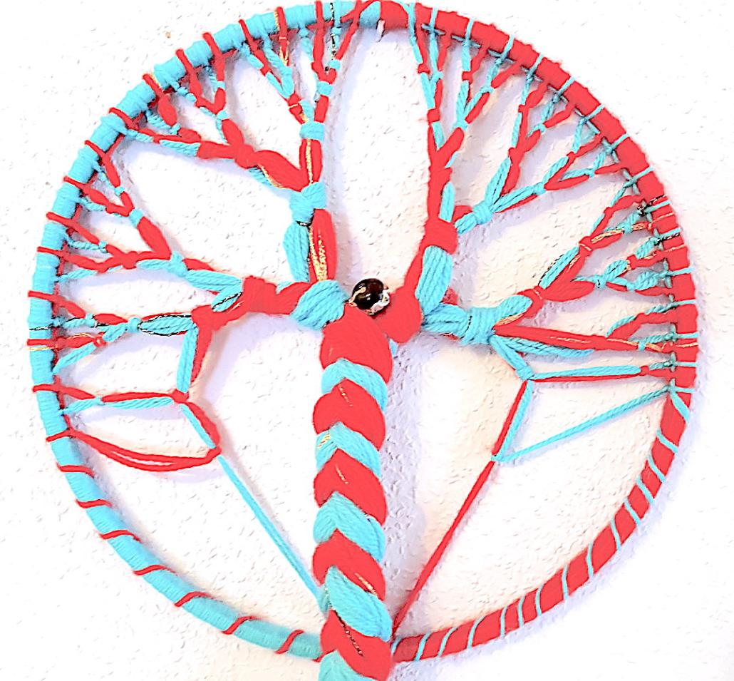 Detail Ahnen-Baum-Rad, Knotemodell aus Wolle